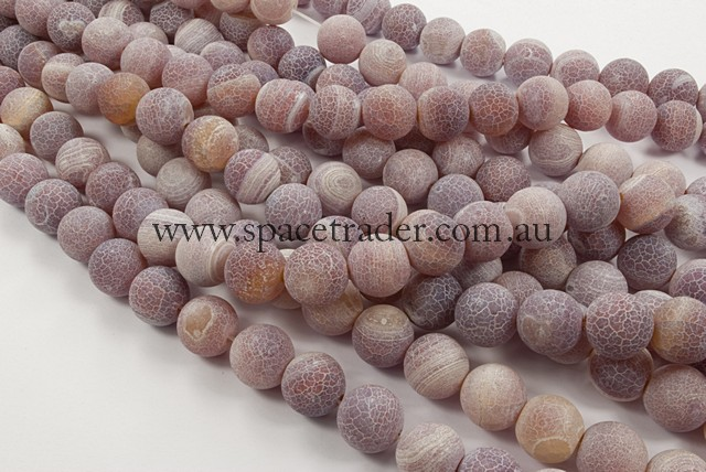 04mm Plain Round Frosted Fire Red Agate Bead - 40cm strands