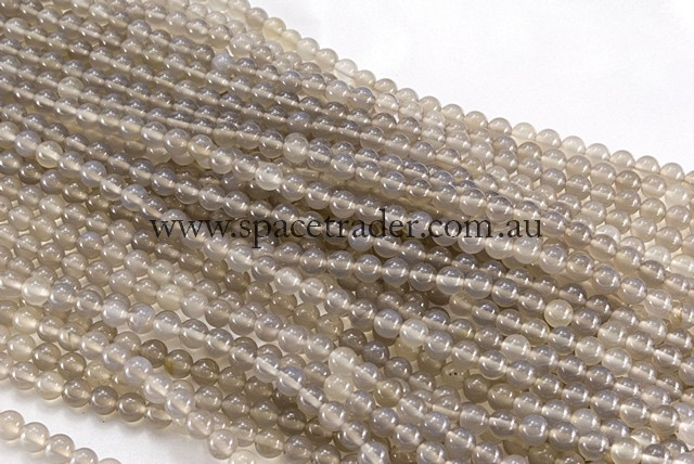 04mm Plain Round Grey Agate Bead - 40cm strands