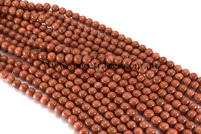 04mm Plain Round Gold Sand Stone (Brown) Bead - 40cm strands