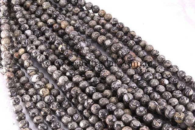 06mm Plain Round Grey Leopard Skin Jasper Bead - 40cm strands