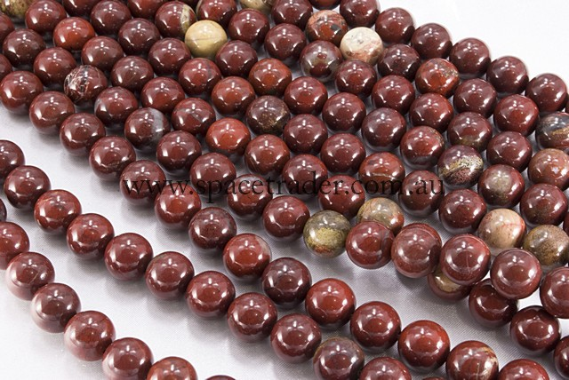 04mm Plain Round Green Red Brecciated Jasper Bead - 40cm strands