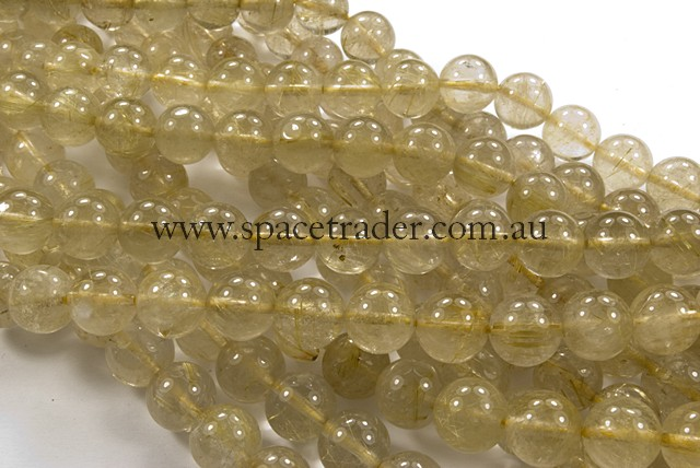 04mm Plain Round Gold Rutilated Quartz Bead - 40cm strands