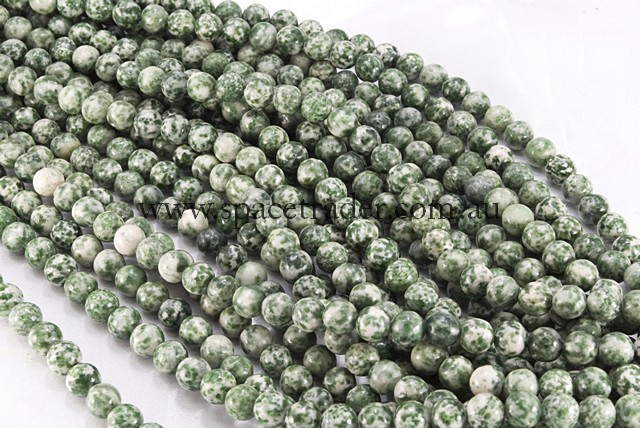 04mm Plain Round Green Spot Jade Bead - 40cm strands
