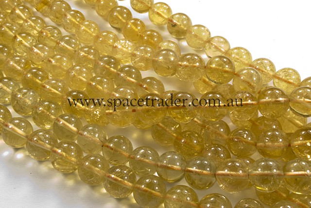 04mm Plain Round Heated Citrine Bead - 40cm strands