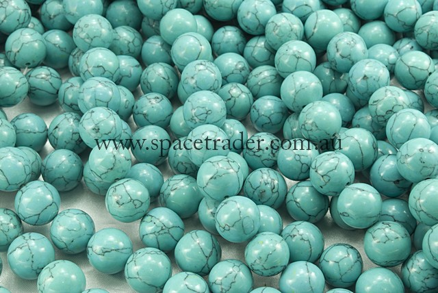 04mm Plain Round Imitation Green Blue Turquoise Bead - 40cm strands