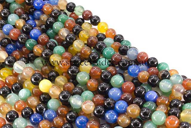 04mm Plain Round Mixed Colour Agate Bead - 40cm strands