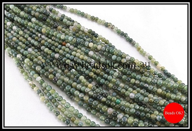 04mm Plain Round Moss Agate Bead - 40cm strands
