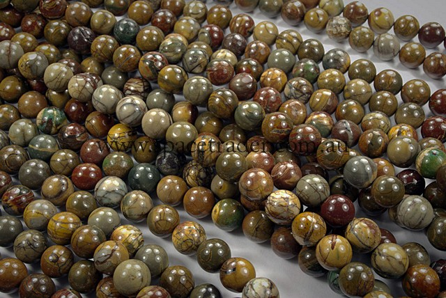 04mm Plain Round Multi-Colour Picasso Jasper Bead - 40cm strands