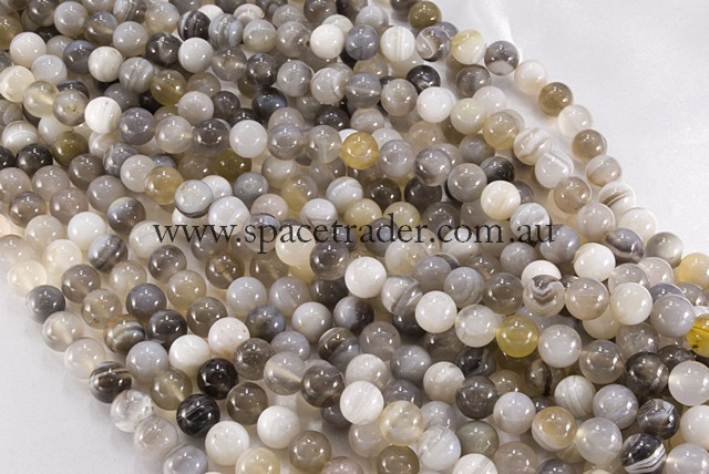 12mm Plain Round Madagascar Brown Botswana Bead - 40cm strands