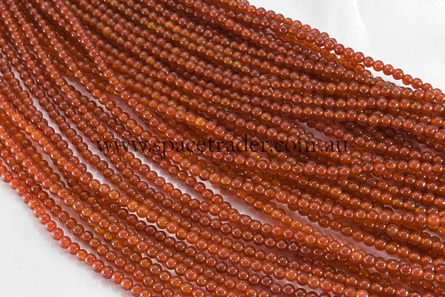 04mm Plain Round Carnelian red (Heated Dyed) Bead - 40cm strands