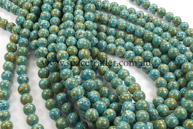 06mm Plain Round New Flower Turquoise Colour:1 Bead - 40cm strands