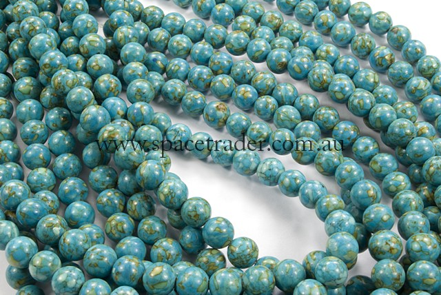 06mm Plain Round New Flower Turquoise Colour:2 Bead - 40cm strands