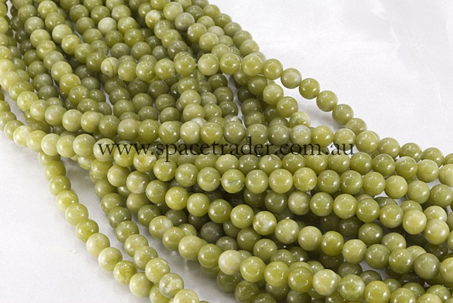 04mm Plain Round Olivine Jade Bead - 40cm strands