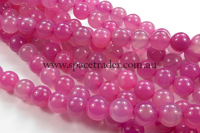 04mm Plain Round Pink Agate Bead - 40cm strands