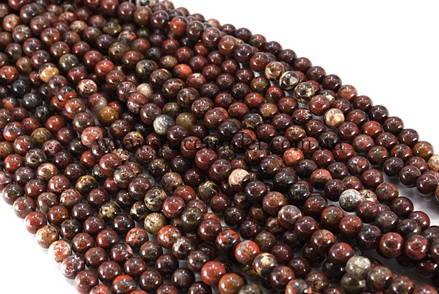 04mm Plain Round Poppy Jasper Bead - 40cm strands