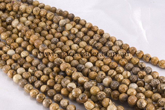 04mm Plain Round Picture Jasper Bead - 40cm strands