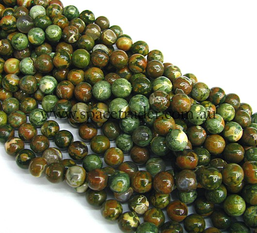 10mm Plain Round Rhyolite Bead - 40cm strands