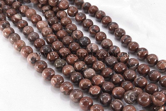 04mm Plain Round Red Picture Jasper Bead - 40cm strands