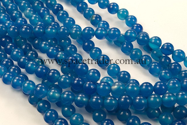 04mm Plain Round Sky Blue Agate Bead - 40cm strands