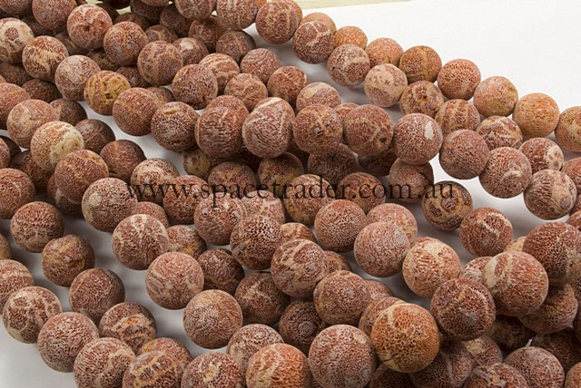12mm Plain Round Sponge Coral (Matt) Bead - 40cm strands