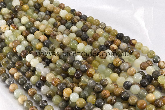 04mm Plain Round Serpentine Jade Bead - 40cm strands