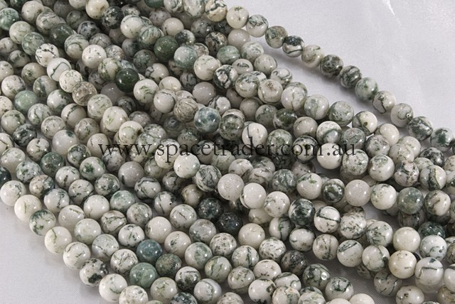 14mm Plain Round Tree Agate Bead - 40cm strands