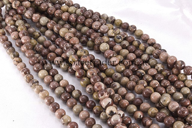 04mm Plain Round Variegated Jasper Bead - 40cm strands
