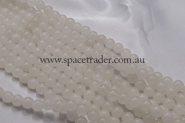 04mm Plain Round White Jade Bead - 40cm strands