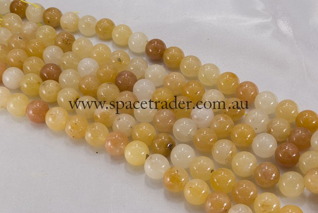 04mm Plain Round Yellow Jade Bead - 40cm strands