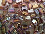 glass - 1697-019 - 6 x 4mm rectangle - brown x 1 KG