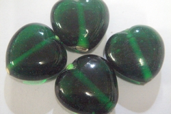 glass - 1828-003 - 18mm heart - transparent green x 1 KG