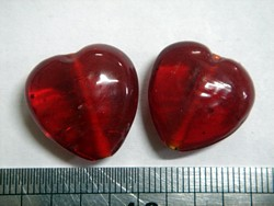 glass - 1828-001 - 18mm heart - transparent red x 1 KG