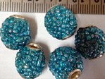 kashmiri beads - 15004 - blue rounds x 200 beads