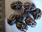 kashmiri beads - 15018 - black cones x 200 beads