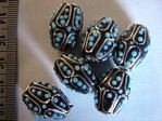 kashmiri beads - 15019 - blue/ black cones x 200 beads