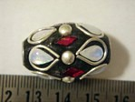 kashmiri beads - 15025 - large silver/red cones x 200 beads