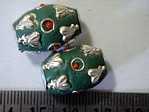 kashmiri beads - 15016 - green cones x 200 beads