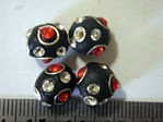 kashmiri beads - 15006 - 12mm red/black x 200 beads