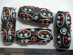 kashmiri beads - 15020 - blue/ red tube x 200 beads
