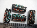 kashmiri beads - 15022 - blue/ red tube x 200 beads