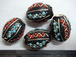 kashmiri beads - 15014 - blue/ black barrel x 200 beads