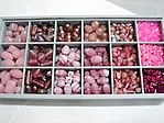 bead kits - 4605 - mix glass bead kit - pink x 12 sets