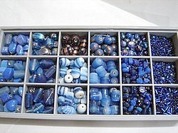 bead kits - 4605 - mix glass bead kit - blues x 12 sets