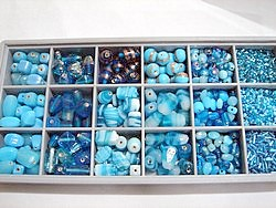 bead kits - 4605 - mix glass bead kit - aqua x 12 sets