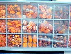 bead kits - 4605 - mix glass bead kit - orange x 12 sets