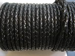 stringing - leather - 20 metre roll of 3mm braided leather - black