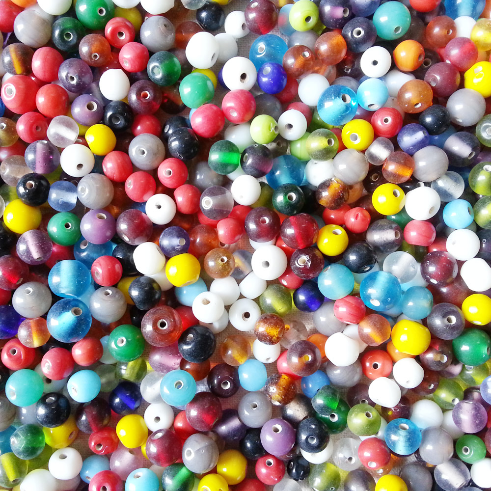 glass beads - round 10mm mix -16027 x 1KG